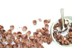 Cereais do chocolate em uma bacia Fotografia de Stock