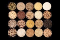 Cereais, grões e sementes Fotografia de Stock