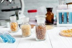 Cereais nos tubos de ensaio de vidro para a análise no fundo de madeira Imagens de Stock