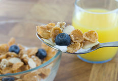 Cereal. Spoonful of cereal and milk with juice and a bowl of cereal behind out of focus Stock Photo