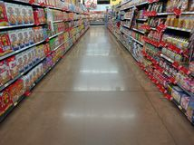 Cereal aisle at supermarket Royalty Free Stock Image