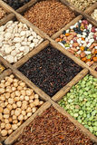 Cereal. Assorted agricultural cereal products in vintage wooden box Stock Photo