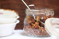 Cereal baked granola with figs, seeds and nuts for breakfast Royalty Free Stock Photos