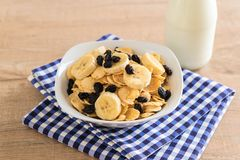 Cereal with banana, raisin and milk Royalty Free Stock Photo
