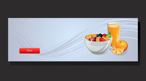 Cereal Banner. Banner with a bowl of cereal, orange, orange juice,to set up breakfast or food theme. eps 10 file, with no gradient meshes,blends,opacity, stroke stock illustration