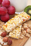 Cereal bar. With grapes, kiwi and milk Stock Image