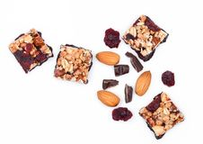 Cereal bar with almonds and cranberries chocolate Royalty Free Stock Photography