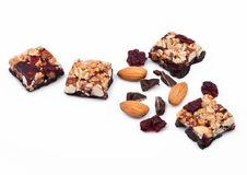 Cereal bar with almonds and cranberries chocolate Royalty Free Stock Photo
