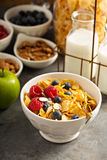 Cereal bar or buffet wih cornflakes, fruit and nuts Stock Photos