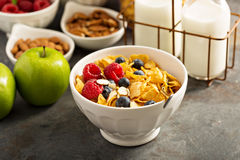 Cereal bar or buffet wih cornflakes, fruit and nuts Royalty Free Stock Images