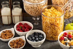 Cereal bar or buffet wih cornflakes, fruit and nuts Stock Photography
