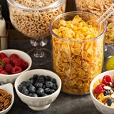 Cereal bar or buffet wih cornflakes, fruit and nuts Stock Image
