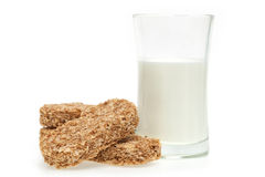 Cereal bar and milk Royalty Free Stock Images