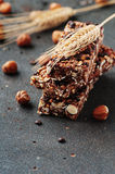 Cereal bar with nuts and chocolate Royalty Free Stock Image