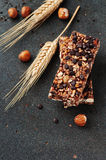 Cereal bar with nuts and chocolate Royalty Free Stock Photo