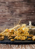 Cereal bar with nuts, selective focus. Cereal bar with nuts and honey, selective focus Royalty Free Stock Photos