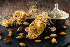 Cereal bar with nuts, selective focus Royalty Free Stock Photos