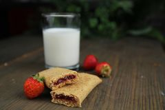 Cereal bar with raspberry Stock Photo