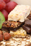 Cereal bars. With grapes, kiwi and milk Royalty Free Stock Image