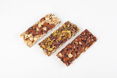 Cereal bars with almonds, nuts and honey Royalty Free Stock Image