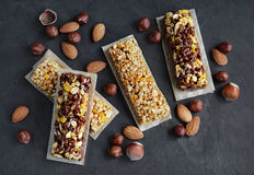 Cereal bars with nuts Stock Photos
