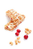 Cereal bars with puffed wheat and cranberries Royalty Free Stock Photos