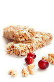 Cereal bars with puffed wheat and cranberries. Closeup shot stock photos
