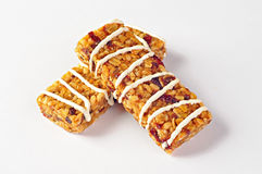 Cereal bars with wheat, cranberries and yogurt Stock Photos