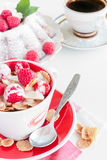 Cereal with berries and homemade cake. Breakfast: cereal with berries homemade cake and a cup of coffee Royalty Free Stock Photos