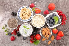 Cereal, berry and almond. Assorted cereal, berry and almond stock photography