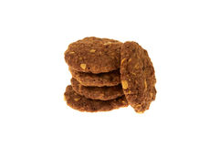 Cereal biscuits with chocolate chips and nuts isolated Royalty Free Stock Images
