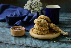 Cereal biscuits with seeds. Of flax and sunflower stock photos