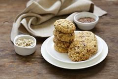 Cereal biscuits with seeds. Of flax and sunflower stock image