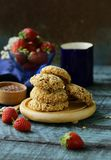 Cereal biscuits with seeds. Of flax and sunflower royalty free stock images