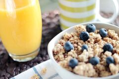 Cereal with blueberries royalty free stock photo