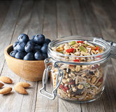 Cereal Blueberries Granola Muesli Jar Royalty Free Stock Photos