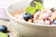 Cereal with blueberry close up Stock Photos