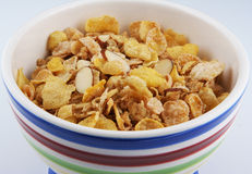 Cereal in bowl. A ceramic bowl filled with cereal stock photography