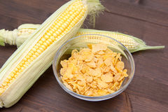 Cereal bowl of corn on wood Royalty Free Stock Images