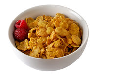 Cereal bowl with raspberries Royalty Free Stock Image