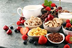 Cereal. Bowls of various cereals, berries and milk for breakfast. Muesli with kids cereals. Cereal. Bowls of various cereals, fruits and milk for breakfast royalty free stock photo