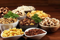 Cereal. Bowls of various cereals for breakfast. Muesli with kids cereals. Cereal. Bowls of various cereals for breakfast. Muesli with variety of kids cereals stock photo
