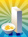 Cereal box. Breakfast cereal with milk in bowl with box Stock Image