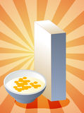Cereal box. Breakfast cereal with milk in bowl with box Royalty Free Stock Photography