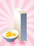 Cereal box. Breakfast cereal with milk in bowl with box Stock Images