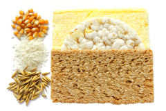 Cereal and bread. Three kinds of cereal and three kinds of bread Stock Photos