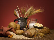 Cereal bread with grain and milk. stock images