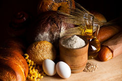 Cereal bread making ingredients Stock Photo