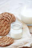 Cereal bread and milk Stock Image