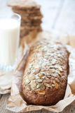 Cereal bread and milk Royalty Free Stock Photo